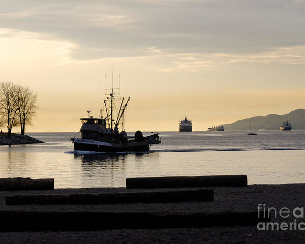 Fishing Poster featuring the photograph Fisherman Home Returning To Port From The Inside Passage Vancouver Bc Canada by Andy Smy