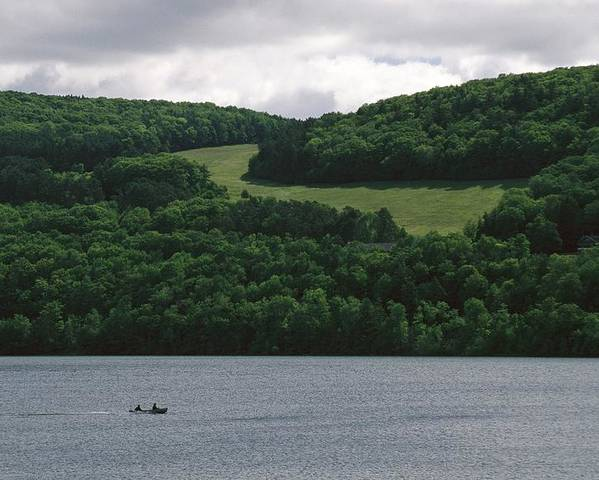 North America Poster featuring the photograph Fishermen On Otsego Lake by Raymond Gehman