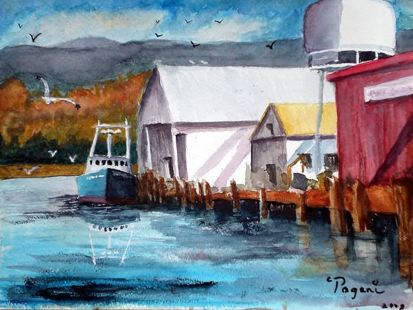Watercolor Poster featuring the painting Fishing Boat And Dock Watercolor by Chriss Pagani