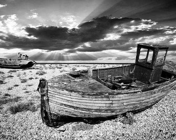 Boat Poster featuring the photograph Fishing Boat Graveyard by Meirion Matthias