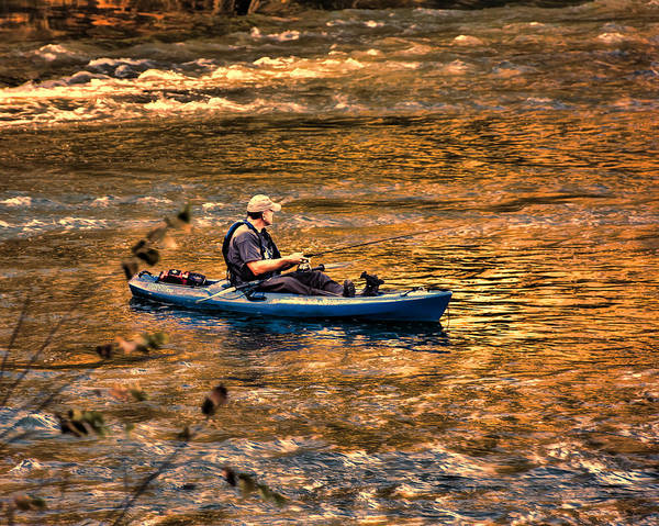 Fishing Poster featuring the photograph Fishing The Golden Hour by Steven Richardson