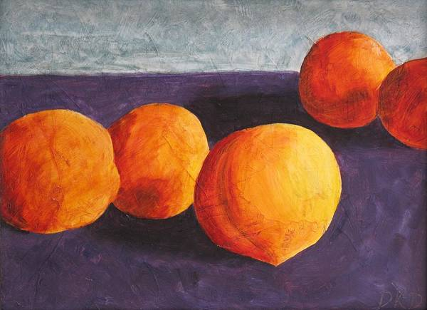 Five Poster featuring the painting Five Peaches by Dina Day