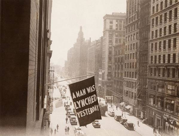 History Poster featuring the photograph Flag Announcing Another Lynching. A Man by Everett
