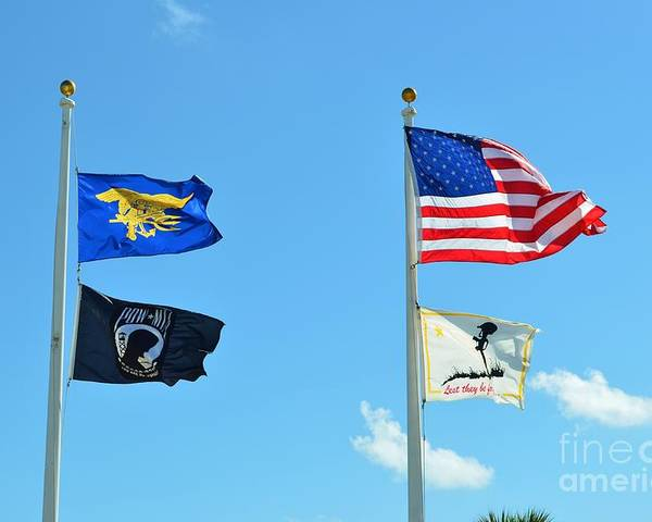 Flag Poster featuring the photograph Flags Flying High by Lynda Dawson-Youngclaus
