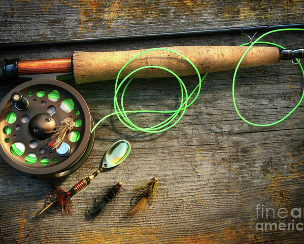 Activity Poster featuring the photograph Fly Fishing Rod With Polaroids Pictures On Wood by Sandra Cunningham