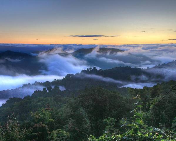 Landscape Poster featuring the photograph Fog Lifting At Sunrise by Heavens View Photography