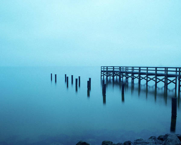 Waterscape Poster featuring the photograph Foggy Morning On Pensacola Bay by Ken Naylor