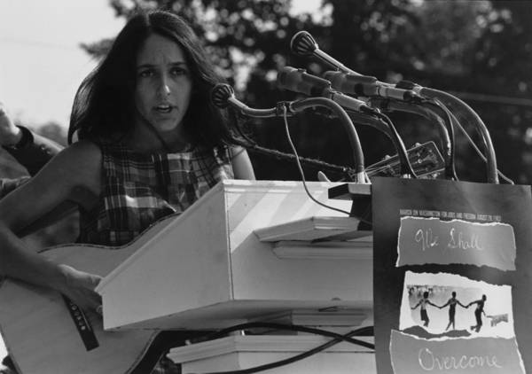 History Poster featuring the photograph Folk Singer Joan Baez Singing by Everett