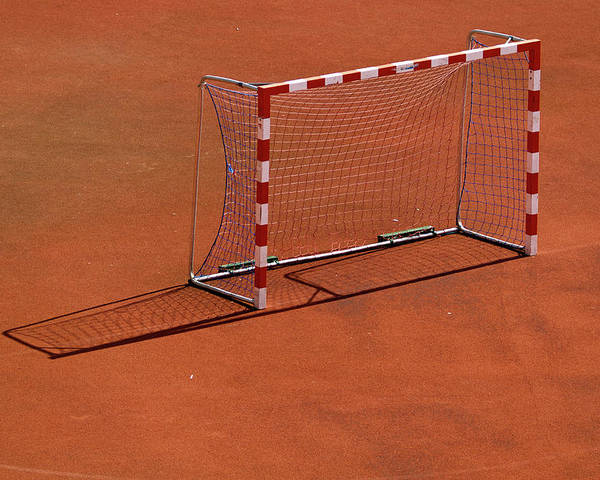 Horizontal Poster featuring the photograph Football Net On Red Ground by Daniel Kulinski