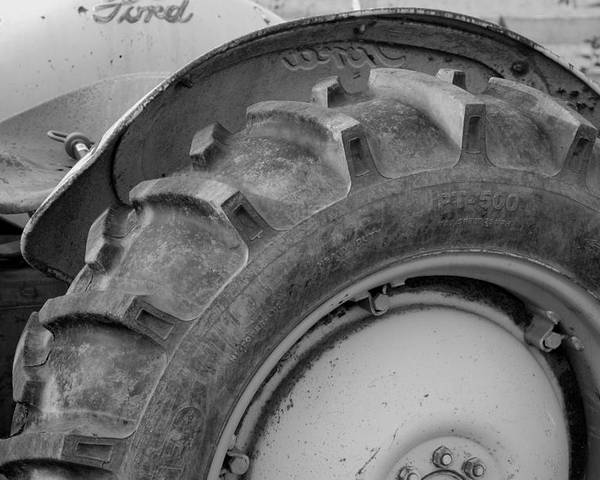 Ford Poster featuring the photograph Ford Tractor In Black And White by Jennifer Ancker