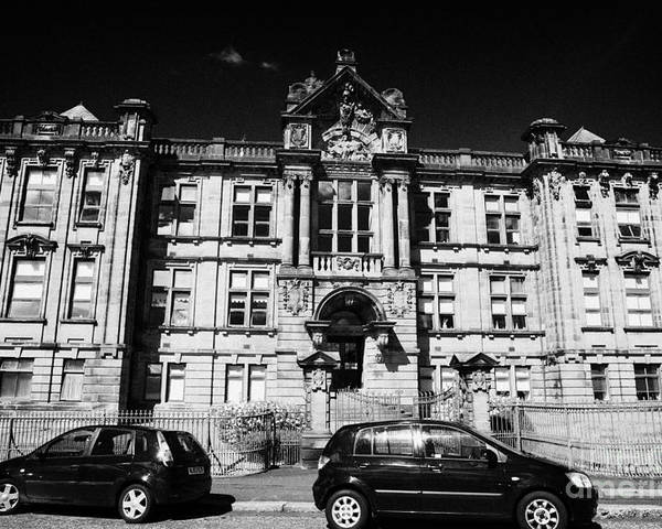 Former Poster featuring the photograph Former Kilmarnock Technical School And Academy Building Now Academy Apartments Scotland Uk by Joe Fox