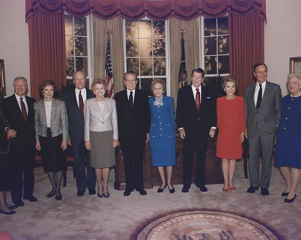 History Poster featuring the photograph Four Presidents And Five First Ladies by Everett