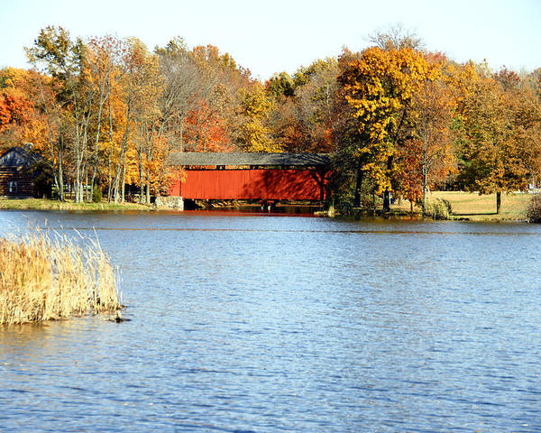 Photographs Poster featuring the photograph Fowler Lake And Covered Bridge by Franklin Conour