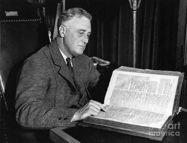 History Poster featuring the photograph Franklin D. Roosevelt, 32nd American by Photo Researchers