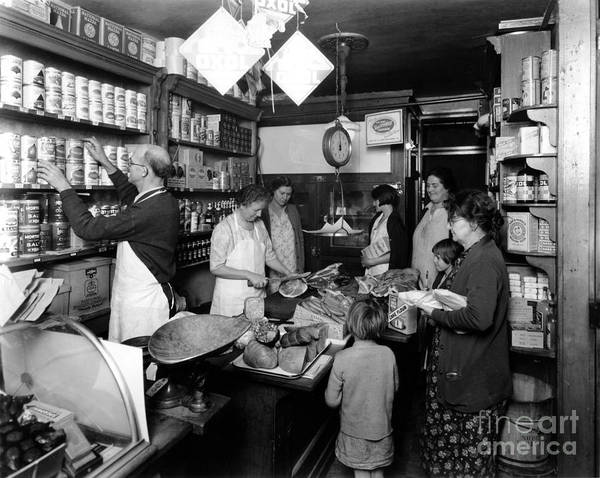 Fred Grover's Poster featuring the photograph Fred Grovers Grocery Store by Photo Researchers