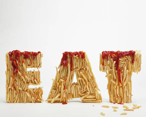 Horizontal Poster featuring the photograph French Fries Molded To Make The Word Fat by Caspar Benson