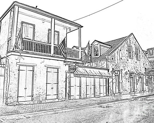 New Orleans Poster featuring the digital art French Quarter Tavern Architecture New Orleans Black And White Photocopy Digital Art by Shawn O'Brien