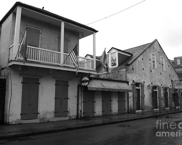 Travelpixpro New Orleans Poster featuring the photograph French Quarter Tavern Architecture New Orleans Black And White by Shawn O'Brien