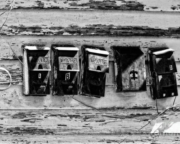 Mailboxes Poster featuring the photograph Freret Street Mailboxes - Black And White -nola by Kathleen K Parker
