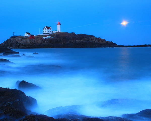 Lighthouse Poster featuring the photograph Full Moon Surf Cape Neddick Nubble Lighthouse by John Burk