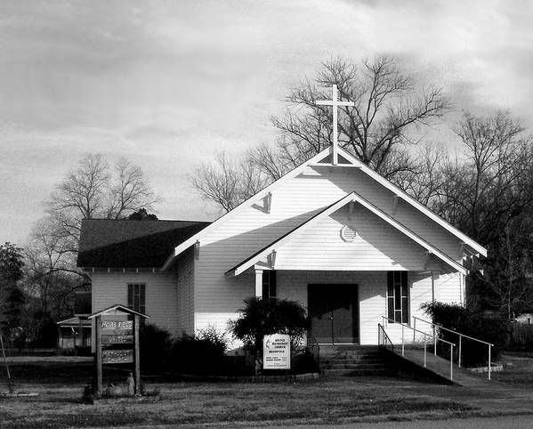 Rural Ar Church Ansel Adams Poster featuring the photograph FUMC Moorefield by Curtis J Neeley Jr