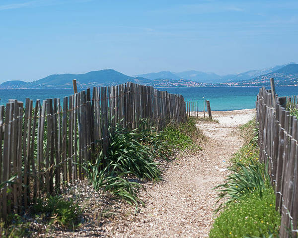 Horizontal Poster featuring the photograph Ganivelles (fences) And Pathway To The Beach by Alexandre Fundone