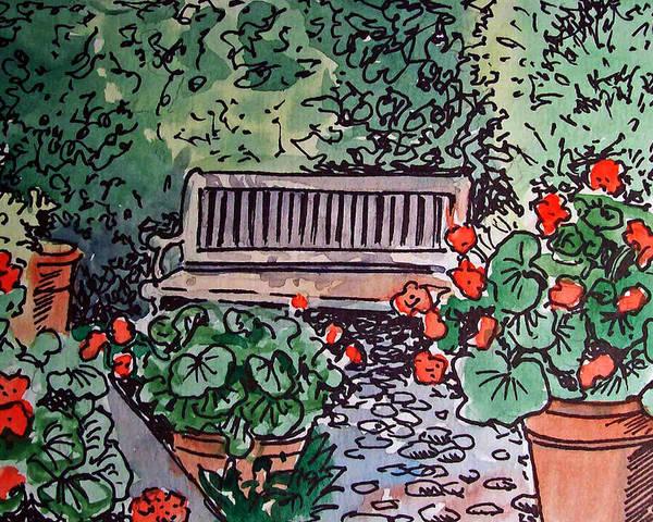 Bench Poster featuring the painting Garden Bench Sketchbook Project Down My Street by Irina Sztukowski