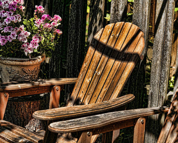 Garden Chairs Poster featuring the photograph Garden Chairs by Bonnie Bruno
