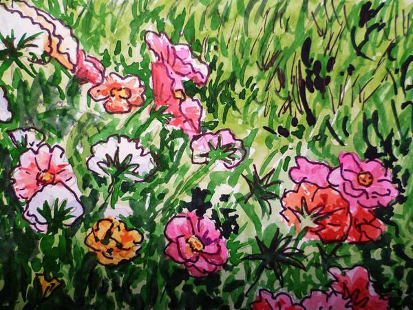 Flowers Poster featuring the painting Garden Flowers Sketchbook Project Down My Street by Irina Sztukowski