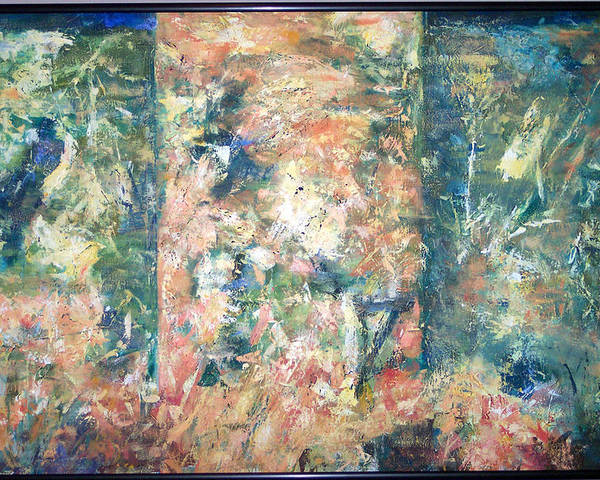 Abstract Poster featuring the painting Garden Triptych by Charlie Harris