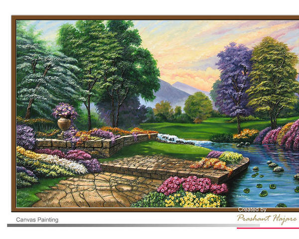 Landscape Poster featuring the painting Garden View 2 by Prashant Hajare
