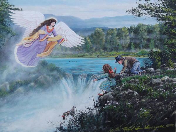 Angel Poster featuring the painting Gaurdian Angel by Michael Wawrzyniec