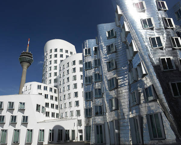 Der Neue Zollhof Poster featuring the photograph Gehry's Der Neue Zollhof Buildings by Pasieka