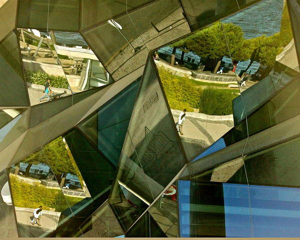 Reflections From A Glass Building In Portugal Poster featuring the photograph Geometric Reflections by Michael Cinnamond