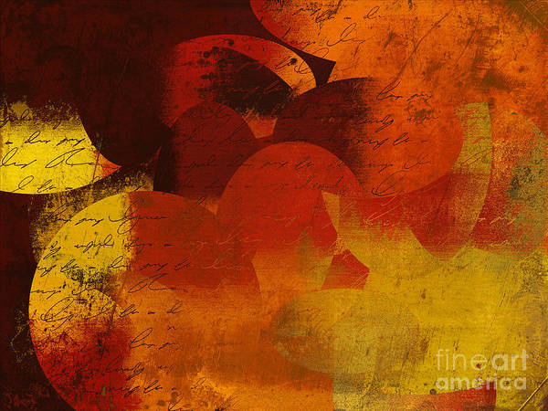 Orange Poster featuring the digital art Geomix 05 - 02at02b by Variance Collections