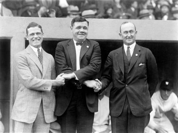 1920s Poster featuring the photograph George Sisler, Babe Ruth And Ty Cobb by Everett