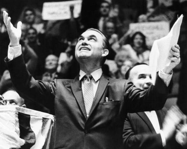 History Poster featuring the photograph George Wallace Acknowledges The Cheers by Everett