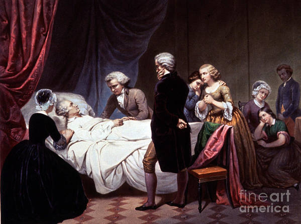History Poster featuring the photograph George Washington On His Death Bed by Photo Researchers