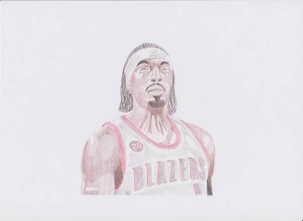 Gerald Poster featuring the drawing Gerald Wallace by Toni Jaso