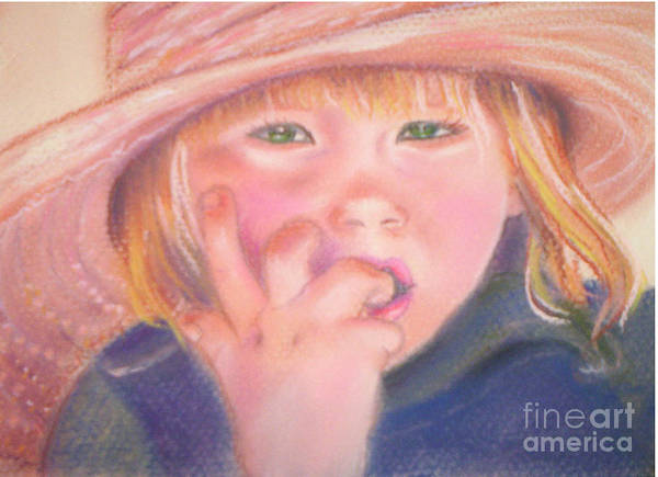 Child Poster featuring the pastel Girl In Straw Hat by Julie Brugh Riffey