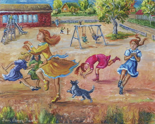 Children Poster featuring the painting Girls Playing Horse by Dawn Senior-Trask