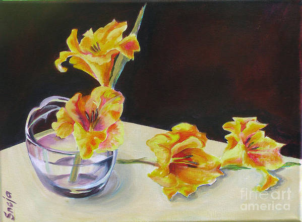 Floral Poster featuring the painting Gladiolas by Snejana Videlova