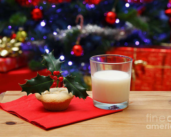 Christmas Eve Poster featuring the photograph Glass Of Milk And A Mince Pie For Santa by Richard Thomas