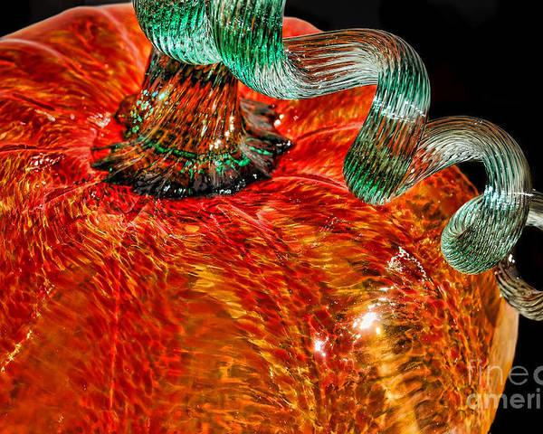 Autumn Poster featuring the photograph Glass Pumpkin  by Alexandra Jordankova