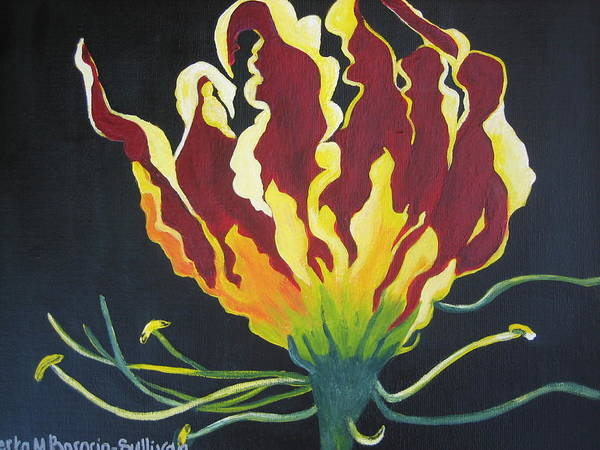 Flora Poster featuring the painting Gloriosa Lily by Berta Barocio-Sullivan