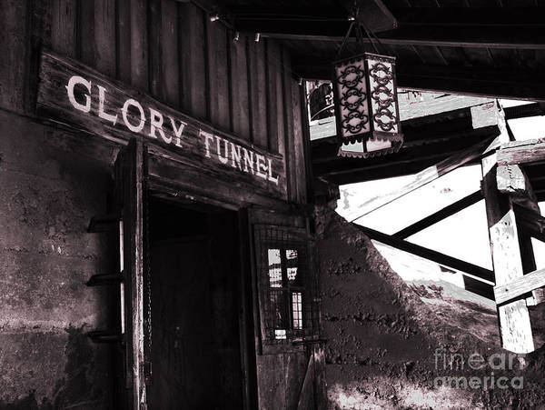 Silver Poster featuring the photograph Glory Tunnel Mine Entrance In Calico California by Susanne Van Hulst