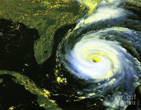 Goes 8 Poster featuring the photograph Goes 8 Satellite Image Of Hurricane Fran by Science Source