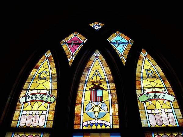 Glass Art Poster featuring the photograph Gold Stained Glass Window by Thomas Woolworth