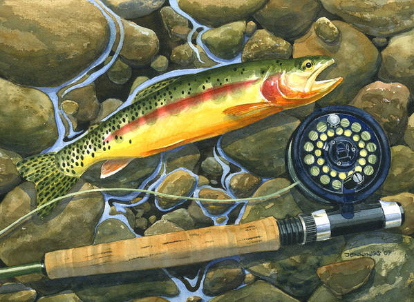 Fish Poster featuring the painting Gold Strike by Mark Jennings