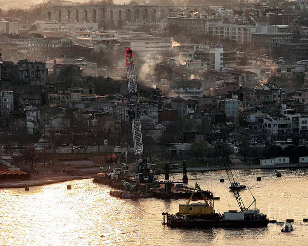 Golden Haze In Istanbul Poster featuring the photograph Golden Haze In Istanbul by John Rizzuto